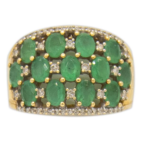 14kt YG Emerald and Diamond Ring